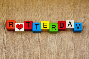 I Love Rotterdam, Netherlands - sign series for cities & travel