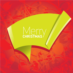merry christmas background with green origami bow or ribbon