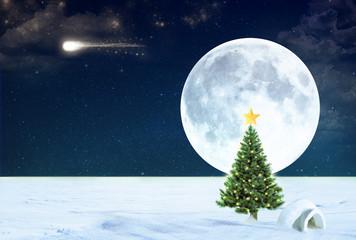albero di natale al polo nord con cometa