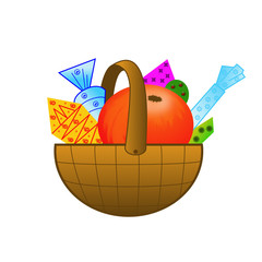 small basket with gifts on a white background
