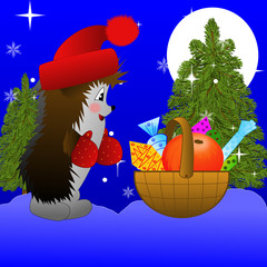 hedgehog and small basket with gifts  on to snow