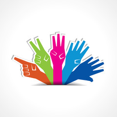 Vector hands make number one to five with copy-space