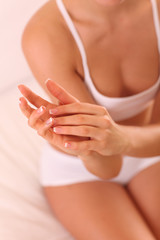 Beautiful female hands - Body care