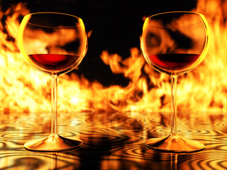 Wine Glasses & Fire