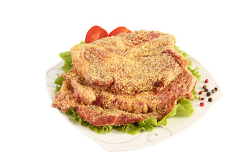 Cutlet with salad and tomato