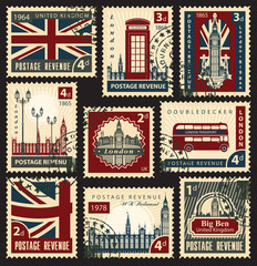 set of stamps with the flag of the UK and London sights