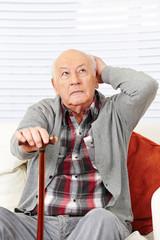 Disoriented demented senior man