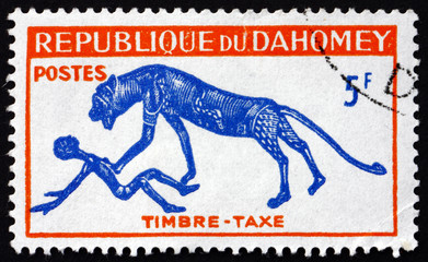 Postage stamp Dahomey 1963 Panther and Man