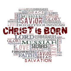 Christ is born Religious Words isolated on white