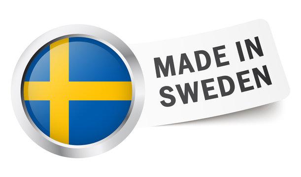 """Button mit Fahne """" MADE IN SWEDEN """""""