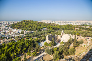View of Athens and The Odeon of Herodes Atticus