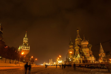 Fototapete - Red Square Moscow at winter night