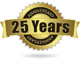 """25 Years Anniversary"" - Retro Golden Ribbon, EPS 10 vector"