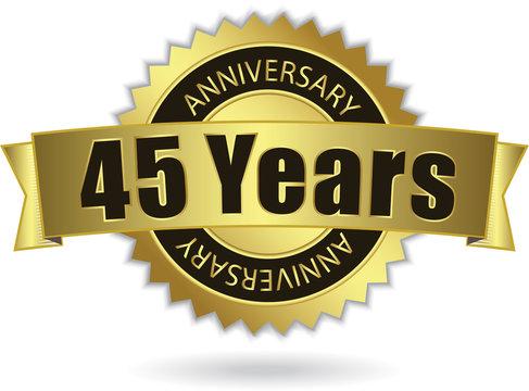 """45 Years Anniversary"" - Retro Golden Ribbon, EPS 10 vector"