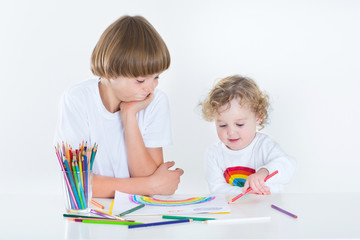 Cute toddler girl drawing with colorful pencils and her brother