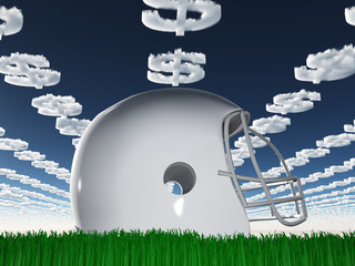 Football Helmet on Grass with Dollar Symbol Clouds
