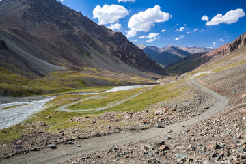 Fototapete - Wonderful mountain road in Kyrgyzstan