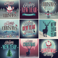Wall Mural - Christmas set - labels and emblems