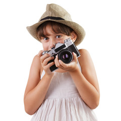 Girl with a film camera