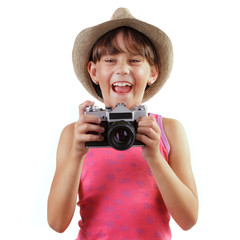 Cheerful girl with a camera