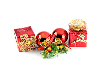 Red ball and gift box for new Year,Christmas.