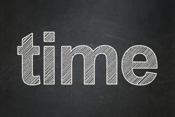 Timeline concept: Time on chalkboard background