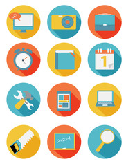 Modern Flat Icon Set for Web and Mobile Application in Stylish