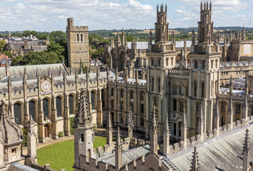 A bird view of All Soul's college in Oxford, England on a sunny