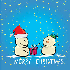 Vector comic cartoon merry christmas illustration with snowman.