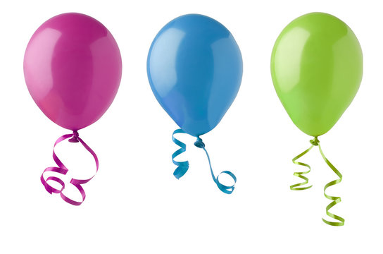 Three Party Balloons Isolated on White