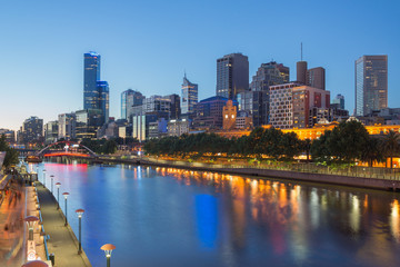 The city of Melbourne and the Yarra river at night