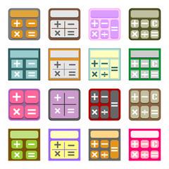 Flat icons of calculators