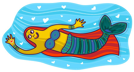 Floating mermaid with orange hair holding a heart in his hand
