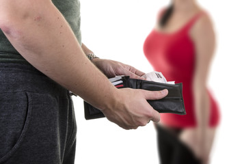 Man paying prostitute with banknotes from wallet