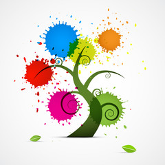 Abstract Vector Tree With Colorful Blobs, Splashes