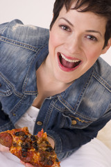 Excited Attractive Woman Eating Hot Pizza Lunch White Background