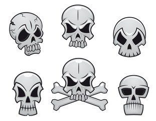 Cartoon skulls set