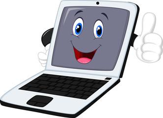 laptop cartoon giving thumb up