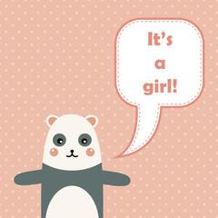 Cute happy birthday card with fun panda.
