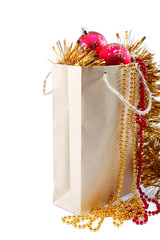 Package with christmas decorations.