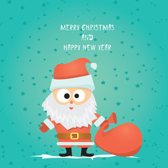 Vector comic cartoon merry christmas greeting card