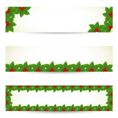 Christmas banners with holly border