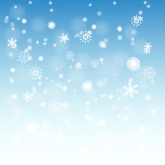 Snow on the blue background.vector
