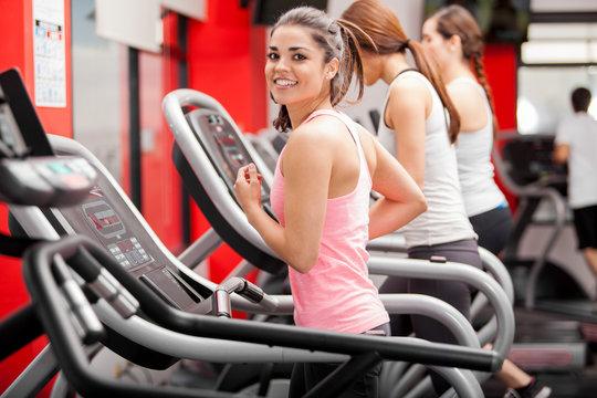 Exercising on a treadmill