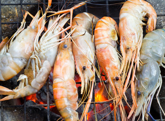 grilled shrimp asian style food