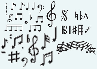 Various musical notes isolated on blue background