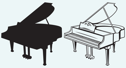 Grand piano isolated on blue background