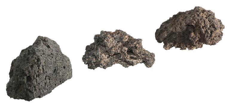 Three volcanic stones isolated on white background