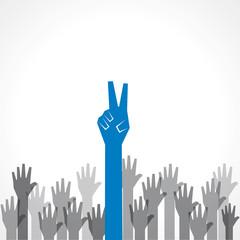 Creative victory hand - vector illustration