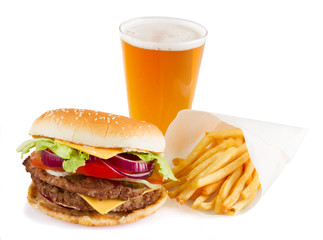 Burger with french fries and  beer